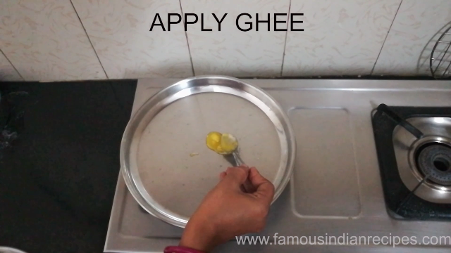 In a plate add little amount of ghee