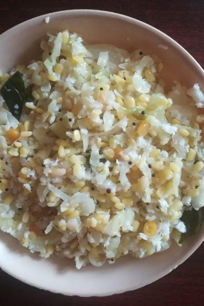 cabbage moong dal poriyal